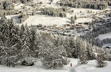 Skiing above the village