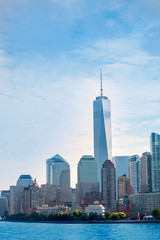 Lower Manhattan skyline Battery Park New York US