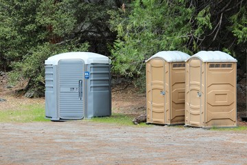 Portable restrooms - plastic toilets in Yosemite National Park