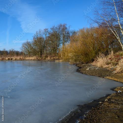 """canvas print picture Zugefrorener See im """"Land der 1000 Teiche"""""""