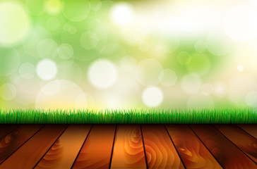 Natural background with wooden floor, grass and bokeh