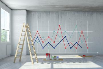 Statistik als Diagramm an Wand