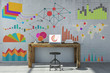 Leinwanddruck Bild - Analyse und Planung mit Computer im Büro