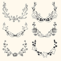 Set of floral hand drawn wreaths
