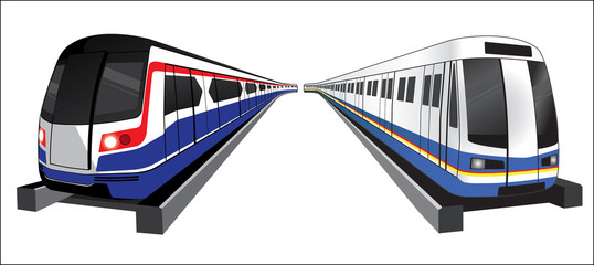 Bangkok skytrain and subwaytrain vector icon