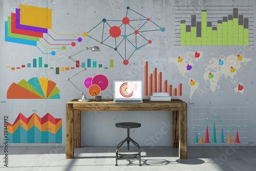 Leinwanddruck Bild Analyse und Planung mit Computer im Büro