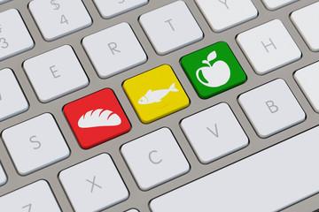 Lebensmittel auf Tastatur