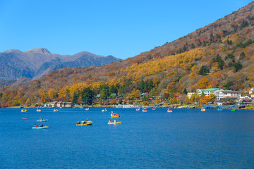 Lake Chuzenji in Autumn, in Oku-nikko, Tochigi, Japan