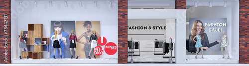 Leinwandbild Motiv Schaufenster einer Boutique mit Mode
