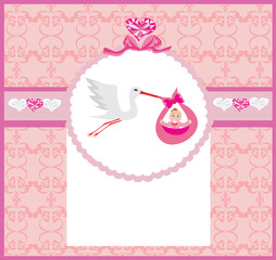 Baby girl Card - A stork delivering a cute baby girl.