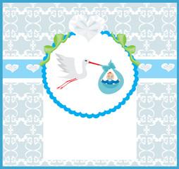 Baby Boy Card - A stork delivering a cute baby boy.