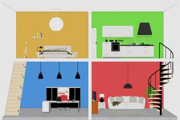 Flache Räume im Haus als Illustration