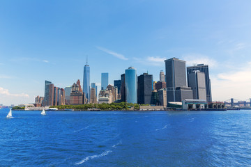 Lower Manhattan skyline New York from bay USA