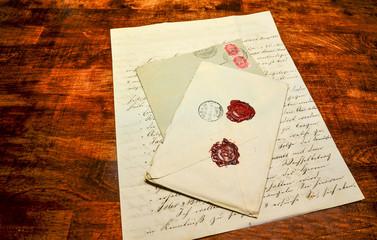 Vintage handwritten letter and envelopes