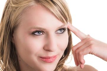 face closeup of beautiful blond young girl