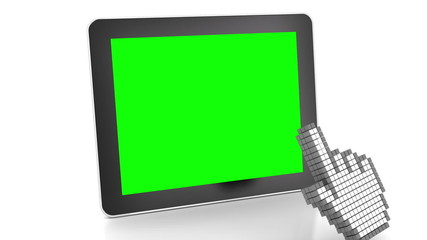 3d animation of touchscreen gesture of cursor over a tablet