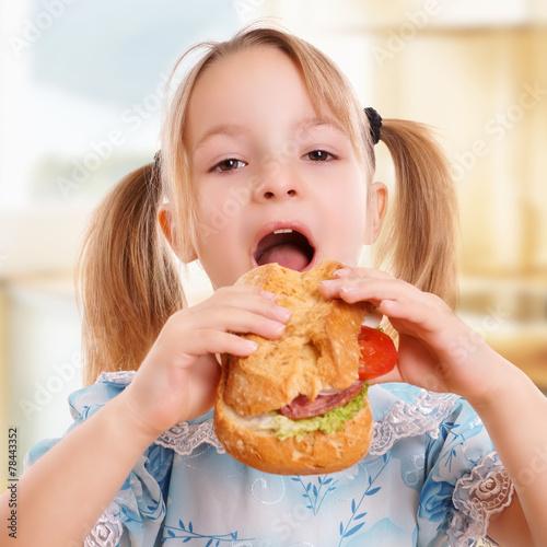 canvas print picture Kind beim Essen