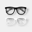 White and black glasses. Vector - 78443945