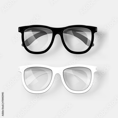 White and black glasses. Vector