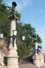 Columns and ladder on Gellert hill. Budapest, Hungary