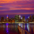 Manhattan New York sunset skyline from East