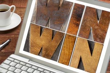 win-win in wood type