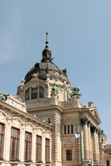Building with a dome.Secheni swimming bath, Budapest, Hungary