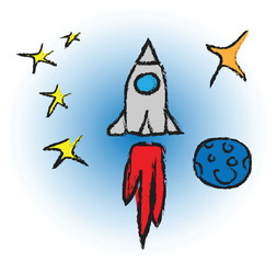 cartoon rocket spaceship with space background and planets