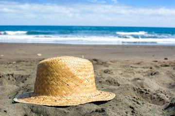hat on sand