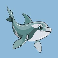 cartoon cute dolphin