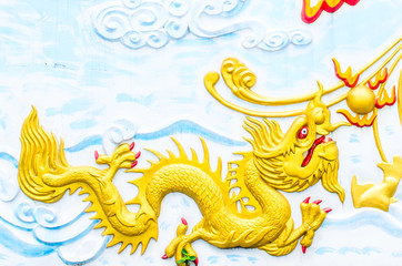 Baby dragon on the wall of temple,thailand