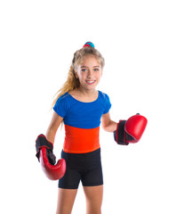 boxer kid blond girl with funny boxing gloves