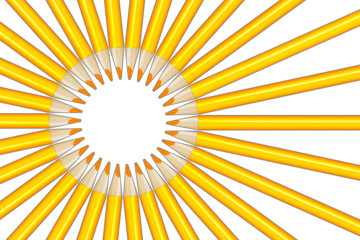 Sun rays figure from yellow pencils