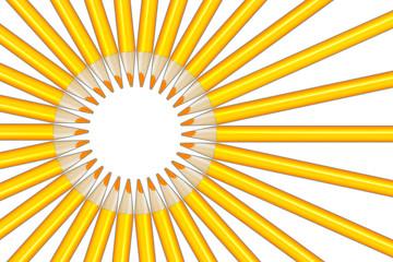 Sun rays figure from yellow pencils