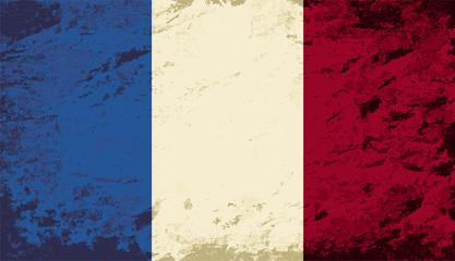 French flag. Grunge background. Vector illustration