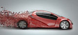 speeding car disintegrating poster
