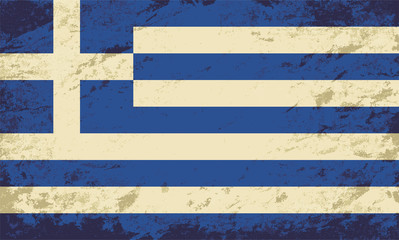 Greek flag. Grunge background. Vector illustration