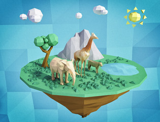 abstract floating island with animals made from paper