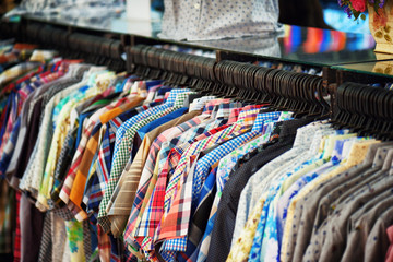 A wide range of men's shirts in store