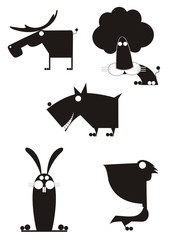 Art animal silhouettes collection for design