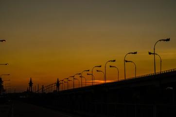 sunset at Thai-Laos Freindship Bridge