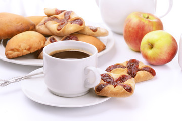 Still life with coffee, cookies and apples
