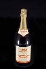 Champaign bottle with Congratulations Happy Birthday text