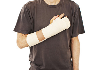 Men with his broken right arm on white background