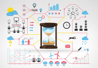 sandglass time counting with blue red infographic icons