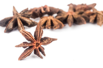 Close up and selective focus on one piece of Star Anise