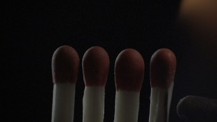 Lighting up the matches in slow motion