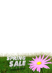 Spring Sale discount background  isolated on white