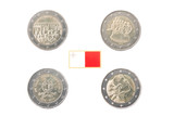 Set of Commemorative 2 euro coins of Malta over white