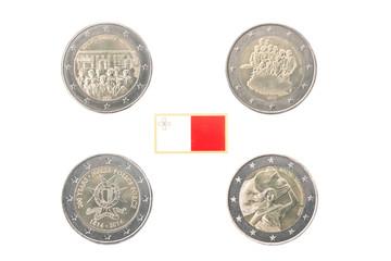Set of Commemorative 2 euro coins of Malta over white